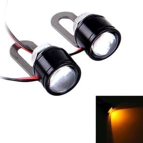 2 PC's 12V 3W Eagle ogen LED licht voor motorfiets  draad lengte: 45cm (gele lampje)