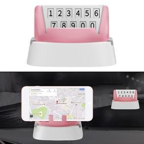 Multi-functionele creatieve stereo rotatie tijdelijke parkeer nummerplaat/auto mobiele-telefoon houder (roze)