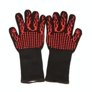 Een paar rode fakkel patroon lange silicagel katoen magnetron wanten bescherming handschoenen warmte isolatie keuken koken bakken BBQ-handschoenen beschermende handschoen  lengte: 32cm