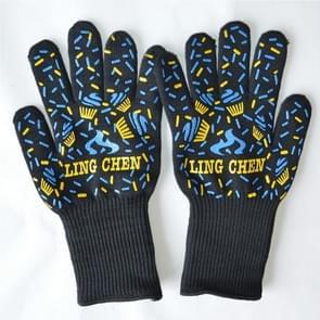 A Pair van blauw en geel lang silicagel katoen magnetron wanten bescherming handschoenen warmte isolatie keuken koken bakken BBQ-handschoenen beschermende handschoen  lengte: 32cm