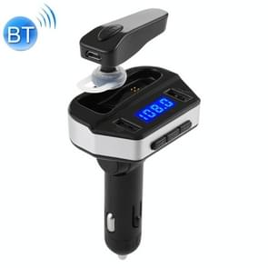 V6  2 in 1 Dual USB Ports Car Charger & V4.2 Bluetooth Earphone Headset, Support Hands-free Call (Black)