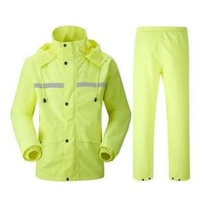 Durable Reflective Motorcycle Split Raincoat Pants Riding Bicycle Electric Bike Windproof Waterproof Rain Wear for Adult, Size: 4XL(Fluorescent Yellow)