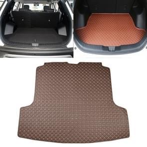 Auto trunk mat achterste vak koolstofvezel mat voor Nissan Teana 2019 (donker bruin)