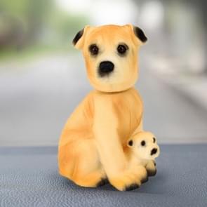 Auto interieur simulatie schudden hoofd Toy swingende Puppy hond zelf klevende Decor Ornament (donkergeel)