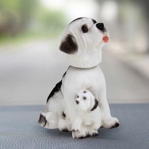 Auto interieur simulatie schudden hoofd Toy swingende Puppy hond zelf klevende Decor Ornament(White)
