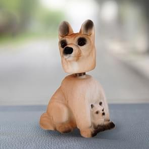 Auto interieur simulatie schudden hoofd Toy swingende Puppy hond zelf klevende Decor Ornament(Brown)