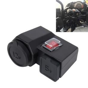 5V/12V Motorfiets waterdicht stuurklem Dual USB Auto aansteker stopcontact Power Adapter Charger  voor telefoons / tablets / GPS