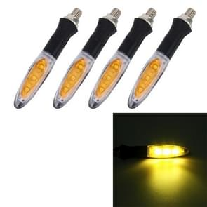 4 PCS DC 12V Motorcycle 3-LED Yellow Light Turn Signal Light