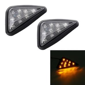 2 PCS Triangle Shape DC 12V Motorcycle 9-LED Yellow Light Turn Signal Indicator Blinker Light