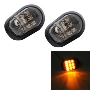 2 PCS Oval Shape DC 12V Motorcycle 9-LED Yellow Light Turn Signal Indicator Blinker Light
