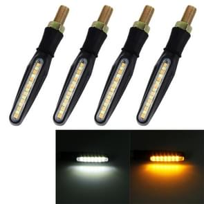 4 PCS DC 12V Motorcycle 15-LED Yellow + White Light Marquee-LED Turn Signal Indicator Blinker Light