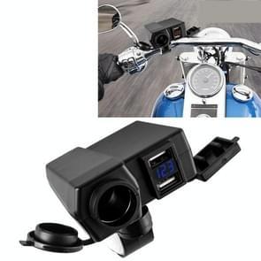 Universal motorfiets Dual USB-poorten 4.2A telefoon snellader met sigaret Socket & Voltage Display & Switch  Ramdon kleur levering