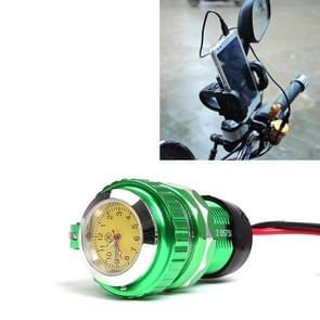 Universeel 12V motor USB telefoon voertuig navigatie lader met een horloge willekeurige kleur levering