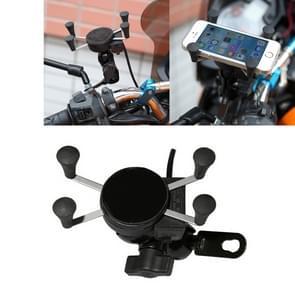 USB telefoonlader van universeel 12V motorfiets met houder  geschikt voor 3.5-6 5 inch Smartphones