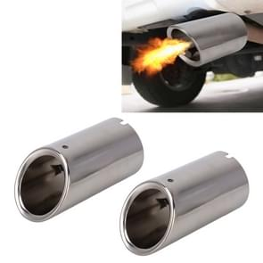 2 PCS Car Styling Stainless Steel Exhaust Tail Muffler Tip Pipe for VW Volkswagen 1.4T Swept Volume(Silver)