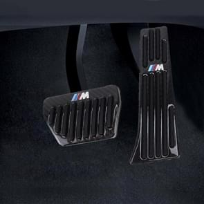 2 in 1 Non-Slip Carbon Fiber Manual Car Truck Foot Pedals Brake Gas Fuel Pad Cover Kit voor BMW (Zwart)