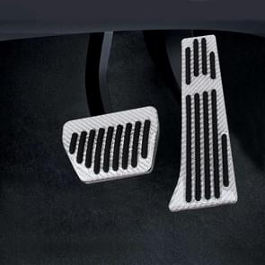2 in 1 Non-Slip Carbon Fiber Manual Car Truck Foot Pedals Brake Gas Fuel Pad Cover Kit voor BMW (Zilver)