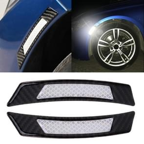 2 stuks koolstofvezel reflecterende auto Fender flare Wheel brow waarschuwing strip stickers (wit)