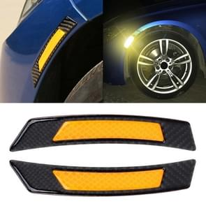 2 stuks koolstofvezel reflecterende auto Fender flare Wheel brow waarschuwing strip stickers (geel)