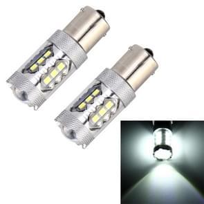 2 stk 1156 / BA15S 5W 250LM 6000K auto Auto beurt Light achteruitrijlicht lichten 16LEDs SMD-2835 lampen  DC 12V (wit licht)