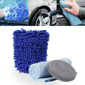 Car Washer Care Set High-density Microfiber Waxing Sponge+Water Magnetic Micro Towel+Double Sided Chenille Washing Glove