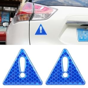 2 PCS Car-Styling Triangle Carbon Fiber Warning Sticker Decorative Sticker(Blue)