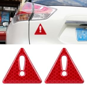 2 PCS Car-Styling Triangle Carbon Fiber Warning Sticker Decorative Sticker(Red)