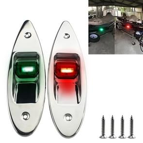 D2944 1W 12V Marine Boat Waterproof Navigational LED Side Bow Tear Drop Lights (Green and Red)