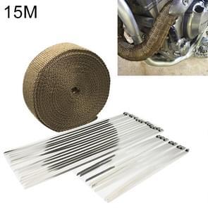 15m Titanium Gold Exhaust Wrap Auto Motor Exhaust Heat Shield Wrap Heat Resistant Wrap