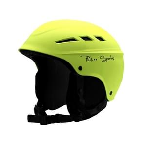 Single and Double Plate Skiing Professional Protective Helmet 8 Air Vents PC Shell Adjustable Buckle Parent-child Protective Helmet, Size: M, Fit for 56-60cm(Lemon Yellow)
