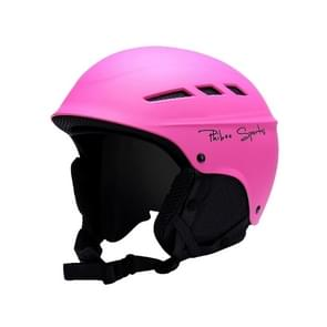 Single and Double Plate Skiing Professional Protective Helmet 8 Air Vents PC Shell Adjustable Buckle Parent-child Protective Helmet, Size: L, Fit for 56-62cm(Rose Red)