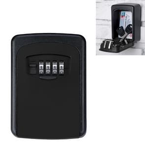 Wall-hanging Key Storage Box with Metal 4-Digit Password Lock (Black)