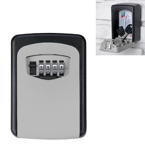 Wall-hanging Key Storage Box with Metal 4-Digit Password Lock (Grey)