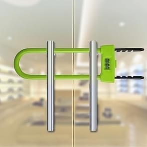 Glazen deur dubbel open U-Lock anti hydraulische shear verlengde mechanische code slot (groen)