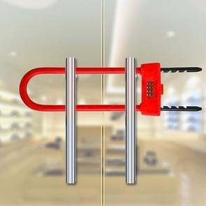 Glazen deur dubbel open U-Lock anti hydraulische shear verlengde mechanische code slot (rood)