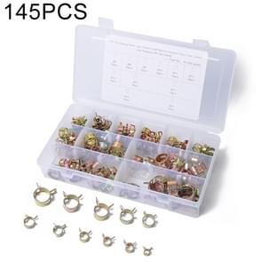145 PCS Car Spring Clip Fuel Line Hose Clip Water Pipe Air Tube Clamp Fastener, Diameter Range: 6-20mm