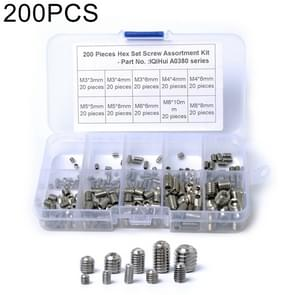 200 PCS Car 304 Stainless Steel Concave Head Hexagon Socket Screws Assortment Kit