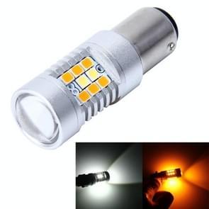 1157 7W 850 LM 6000K wit + geel licht dag Running lichte Turn-signaal licht remlicht met 21 SMD-2835-LED-lampen en 7 SMD-3030-LED-lampen. DC 12V