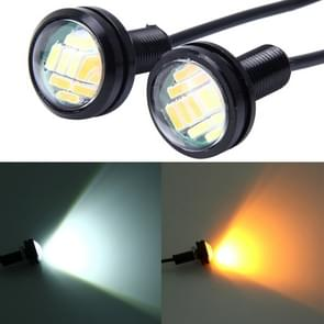 2 PC's 2W White + geel licht auto Auto Eagle ogen Mistlamp zet licht met 12 SMD-4014 LED lampen  12V DC kabel lengte: 55cm