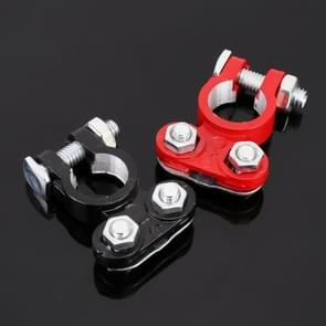 2 PCS Positive and Negative Car U Shape Metal Battery Connectors Terminals Clamps Clips, L Size, Inner Diameter: 16mm (Black + Red)