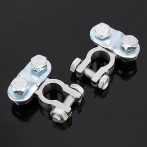 2 PCS Positive and Negative Car U Shape Metal Battery Connectors Terminals Clamps Clips, S Size, Inner Diameter: 12mm