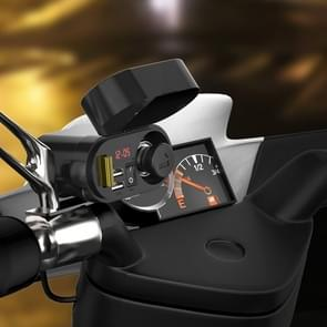 3A Motorcycle Multi-functional Cigarette Lighter Socket Voltmeter + Cigarette Lighter Socket + Dual USB