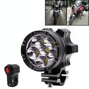 DC 12V 4000LM 6000K 30W IP67 6 LED Lamp Beads Motorcycle Aluminum Alloy LED Headlight Lamps with Switch, Constantly Bright + Blasting Flash