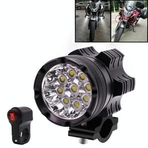 DC12V 5500LM 6000K 45W IP67 9 LED Lamp Beads Motorcycle Aluminum Alloy LED Headlight Lamps with Switch, Constantly Bright + Blasting Flash