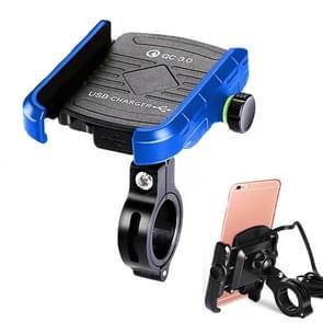 Motorfietsen / Fiets USB Charger QC 3.0 Fast Charging Phone Bracket  geschikt voor 6-9cm Apparaat (Blauw)