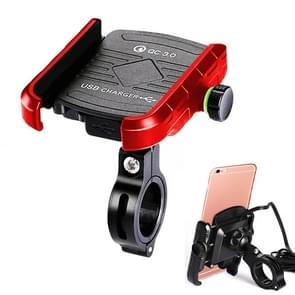 Motorfietsen / Fiets USB Charger QC 3.0 Fast Charging Phone Bracket  geschikt voor 6-9cm Apparaat (Rood)