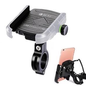 Motorfietsen / Fiets USB Charger QC 3.0 Fast Charging Phone Bracket  geschikt voor 6-9cm Apparaat (Zilvergrijs)
