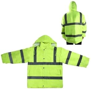 Outdoor Oxford Cloth Long Sleeve Warning Safety Reflective Waterproof Raincoat with Pockets(XL)