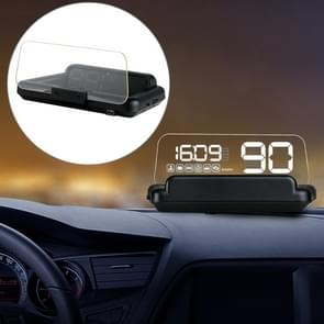 C500 Car HUD Virtual HD Projection Head-up Display  Met Instelbare reflectieplaat  Snelheid & RPM & Watertemperatuur & Olieverbruik & Rijafstand / Time & Voltage Display  Over Speed Alarm  Connect OBD2 Interface(Wit)