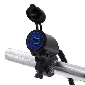 Motorcycle Faucet Dual USB Charger DC12-24V 4.2A IP66 with Aperture(Blue Light)